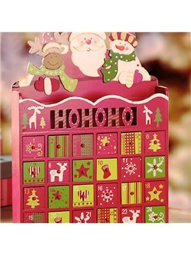Decorative Santa Claus with Snowman Design Wooden ​Christmas Advent Calendar