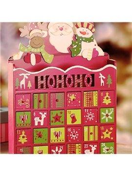 Decorative Santa Claus with Snowman Design Wooden Christmas Advent Calendar