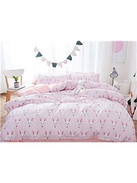 Romantic Rabbit Pattern Pink 4 Pieces Flannel Duvet Cover Sets