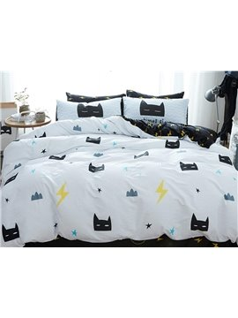 Abstract Cat Face Pattern 4 Pieces Flannel Duvet Cover Sets