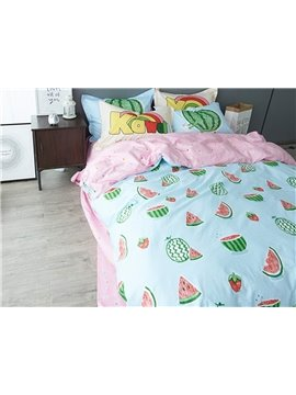 Cartoon Watermelon Pattern Pattern 4 Pieces Cotton Duvet Cover Sets