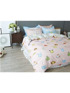 Cute Cartoon Animals Pattern 4 Pieces Cotton Duvet Cover Sets