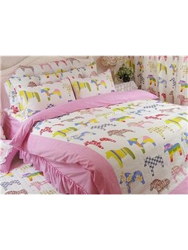 Pretty Horses 4 Pieces Kids 100%Cotton Duvet Cover Sets