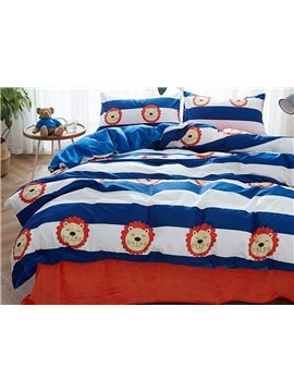 Cartoon Lion Pattern 4 Pieces Flannel Duvet Cover Sets