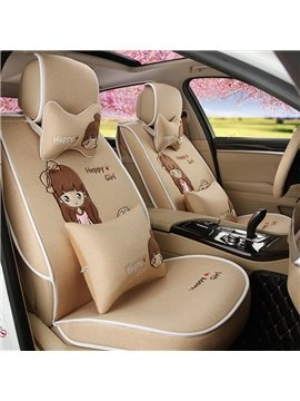 Beautiful Cartoon Girl Pattern Good Permeability Flax Universal Car Seat Cover