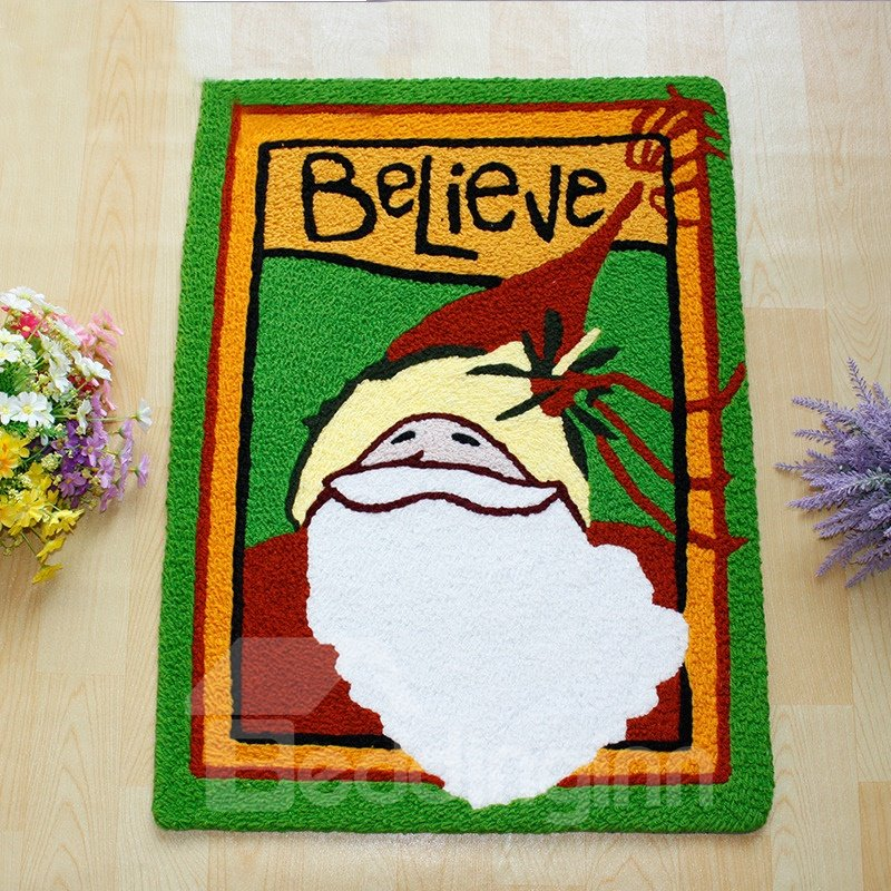 Lovely Santa Pattern Rectangular Christmas Theme Anti Slip