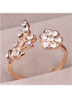 Fancy Rhinestone Inlaid Floral Design Opening Ring