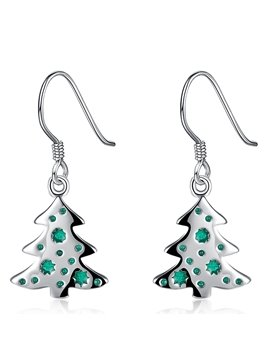 Pretty Christmas Tree Shape Alloy Pendant Earrings