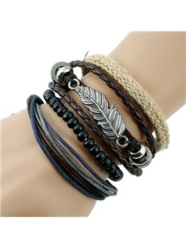 Feather Design Knitting Leather Bracelet Sets