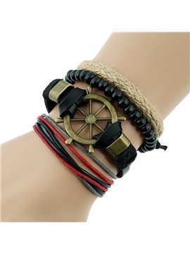 Boat Anchor Design Knitting Leather Bracelet Sets