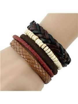 Hand-made Knitting Leather Six Pieces Bracelet Sets