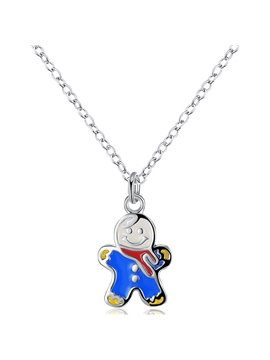 Attractive Blue Snowman Design Alloy Pendant Necklace