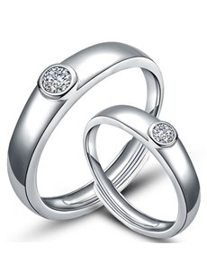 Concise Design 925 Sterling Silver Couple Ring