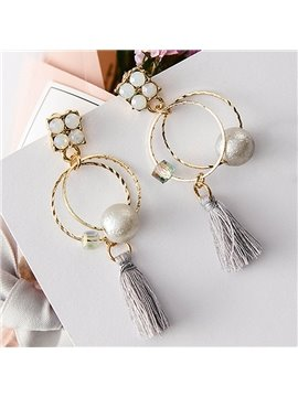 Modest Circles with Pearl Tassels Design Alloy Pendant Earring