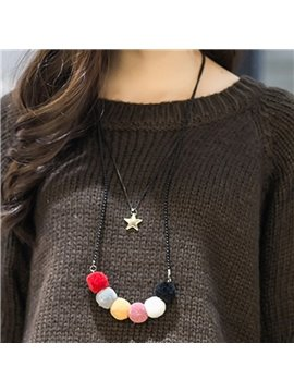 Double Layers Star and Furry ball Design Pendant Necklace