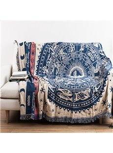Retro Style Rectangle Cotton Creative Ancient Print Washable Decorative Sofa Towel