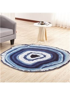 Modern Fashion European Style White and Blue Circle Pattern Washable Area Rug