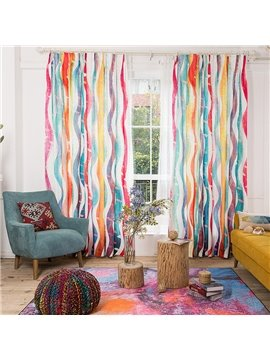 Cute Colorful Wavy Stripes  Cotton and Linen Blending Custom Curtain