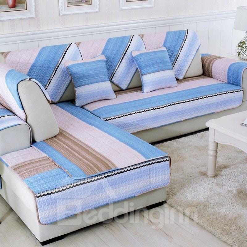 Unique Colorful Strips Print Living Room Decoration Slip