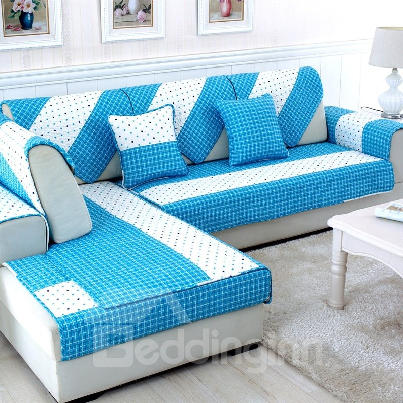 white and blue dots pattern cushion slip resistant