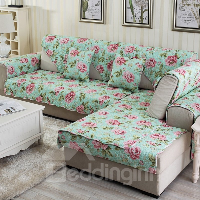 Warm Green With Pink Flower Print Four Seasons Slip