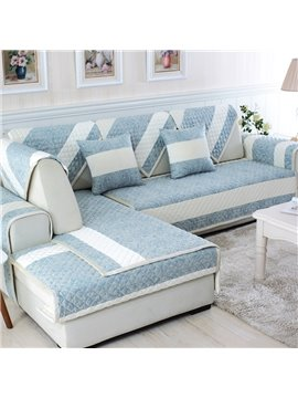 Simple Style Plaid Pattern with White Strip Cushion Slip Resistant Decorative Sofa Cover