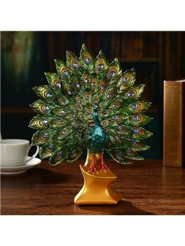 Splendid Resin Modern Peacock Shape with Artificial Diamond Home Desktop Decoration