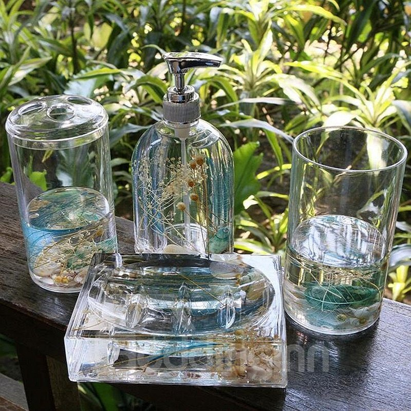 Creative Sea World Design 4 Pieces Organic Glass Bathroom Accessories
