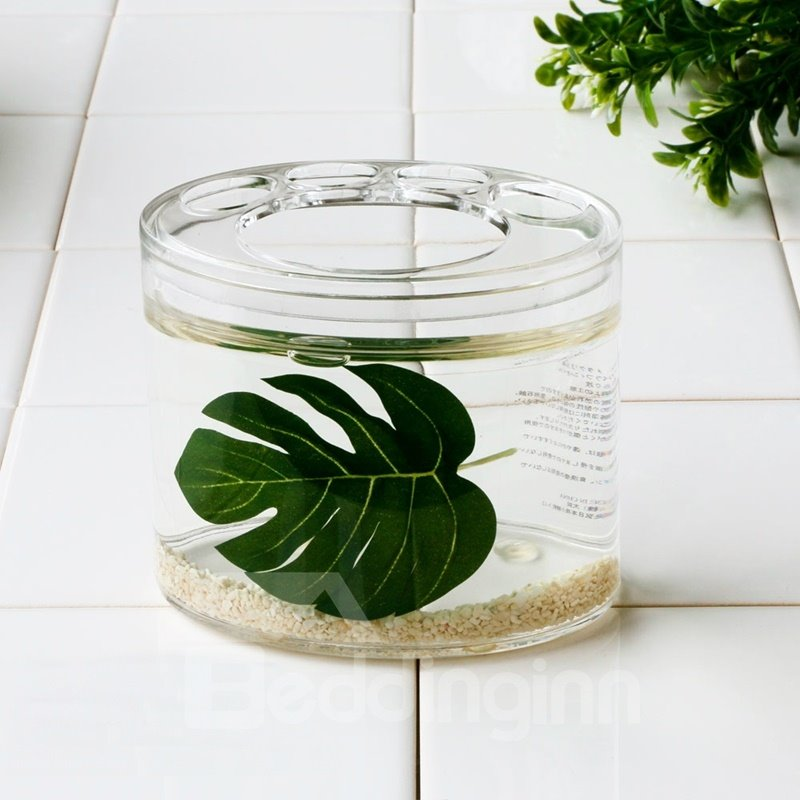 Creative green leaf design 4 pieces organic glass bathroom for Green glass bath accessories