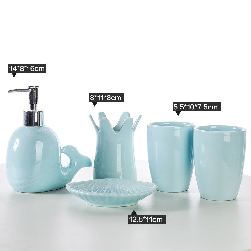 Cute dolphin design ceramics 5 pieces bathroom accessories for Cute bath accessories