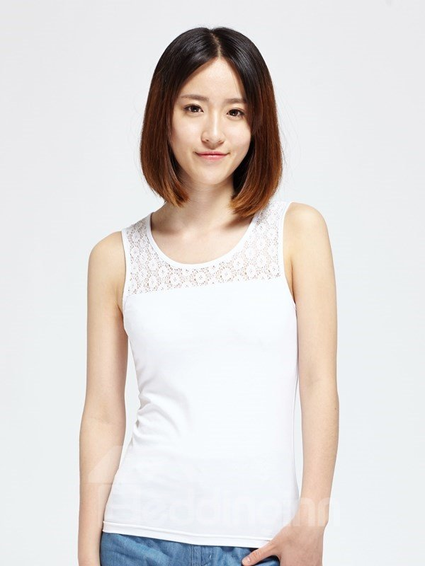 Icy Cotton Slim Fight Lace Vest Womens T-shirt Fashion Home Dress