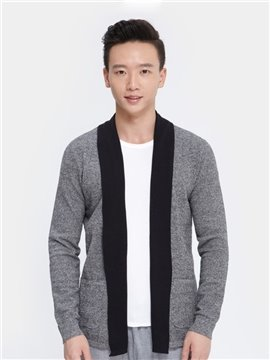Fashion Fake Scarf Placket Design Men's Cardigan Home Dress