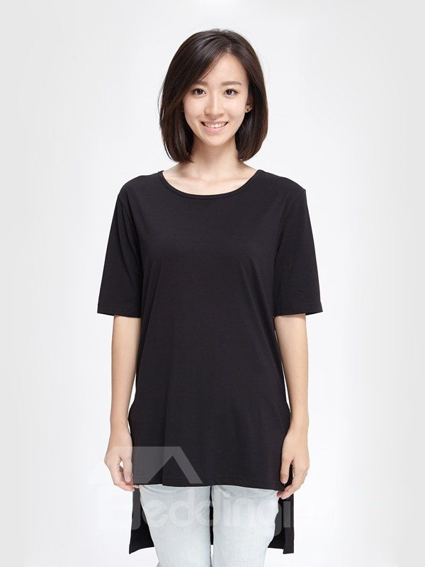 Unique Design Front Short Rear Long Design Sub-sleeve Womens T-shirt Home Dress