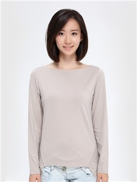 New Special Simple Irregular Collar Long-Sleeved Women's T-shirt