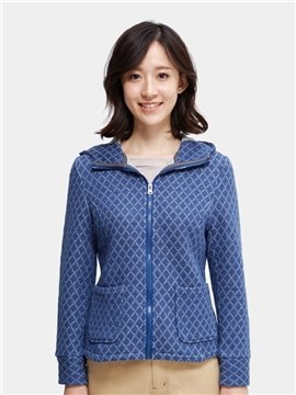 Hooded Design Knitted Crafts Short Section Folder Cotton Ladies' Blouse Beautiful Home Jacket