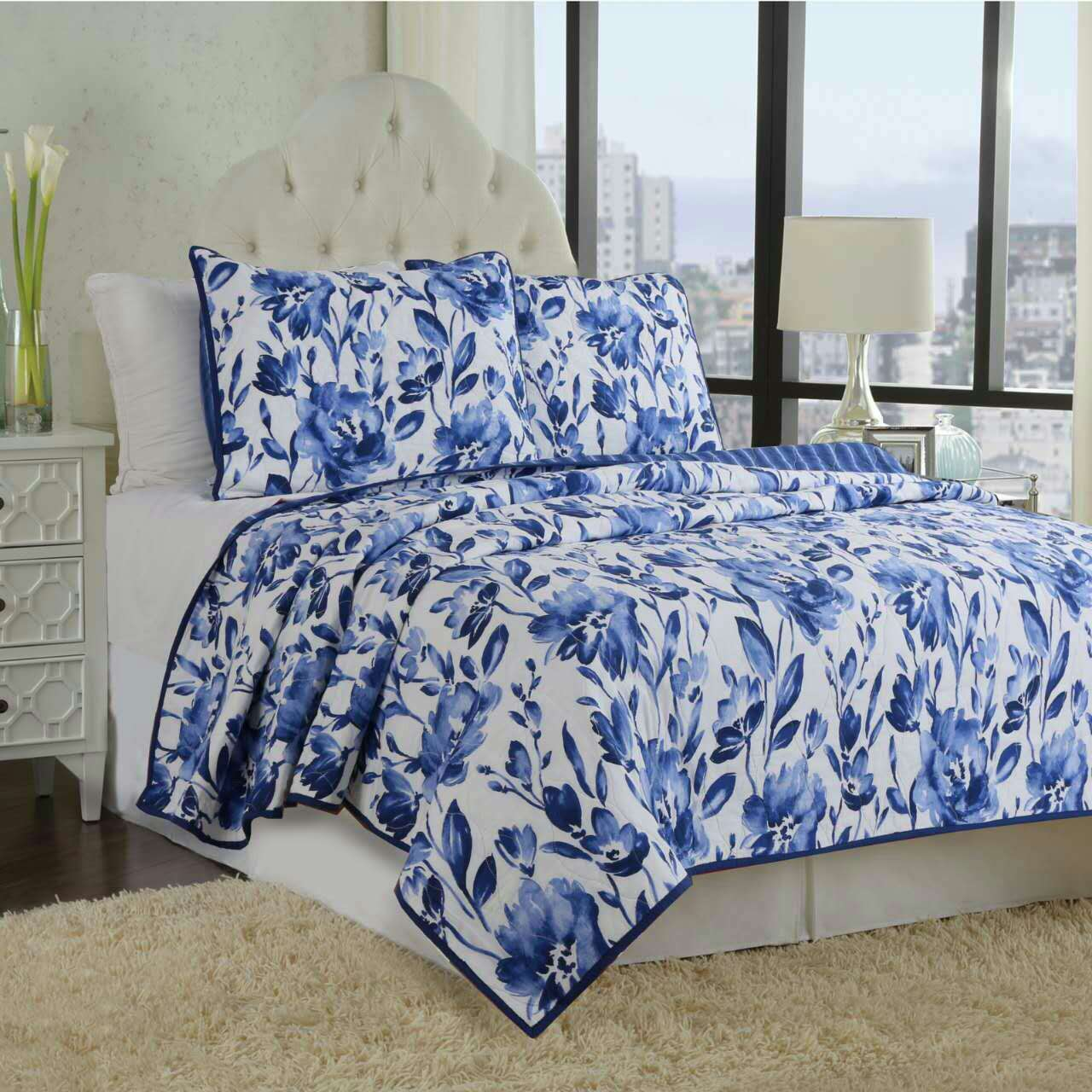 Blue Peony Print Patchwork Cotton King Size 3-Piece Bed in a Bag