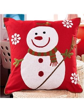 Christmas Style Snowman and Snowflake Pattern Back Curshion