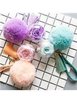 Fantastic Forever Rose with Pompon Design Key Chain