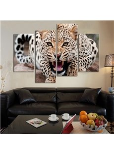 Magnificent Modern Design Leopard Pattern 4 Pieces None Framed Wall Art Prints