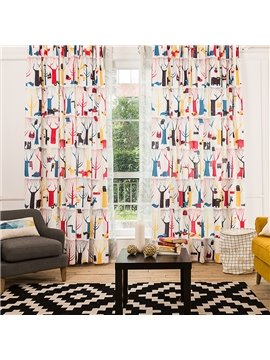 Fashionable Colorful World Printing Window Decoration Custom Curtain