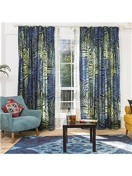 Creative Design Dark Color Plant Leaf Printing Custom Curtain