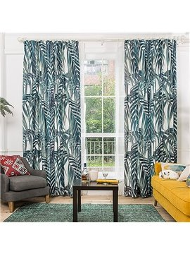 Country Style Dark Green Plant Leaf Printing Window Decoration Custom Curtain