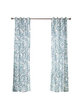 Rustic Light Blue Leaf Printing Window Decoration Custom Curtain
