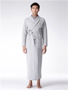 Combed Cotton Lapel Warm Men 's Home Gown Long Sleeves Home Dress