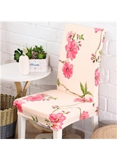 Elegant White Polyester with Pink Flower Print 2 Pieces Four Seasons Chair Covers