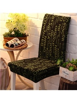Fashion Design with Green Letters Print Four Seasons Reactive Dyeing 2 Pieces Chair Covers
