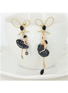 Pretty Asymmetric Ballet Dancer Bowknot Design Pendant Earrings