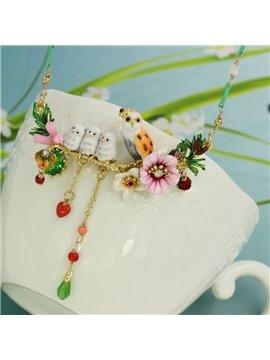 Colorful Owls with Floral Design Enamel Glaze Statement Necklace