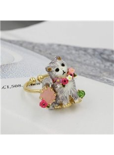 Cute Cat Design Enamel Glaze Opening Ring
