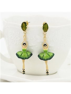 Pretty Ballet Dancer Design Pendant Earrings